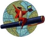woman-flying-around-globe-on-pen